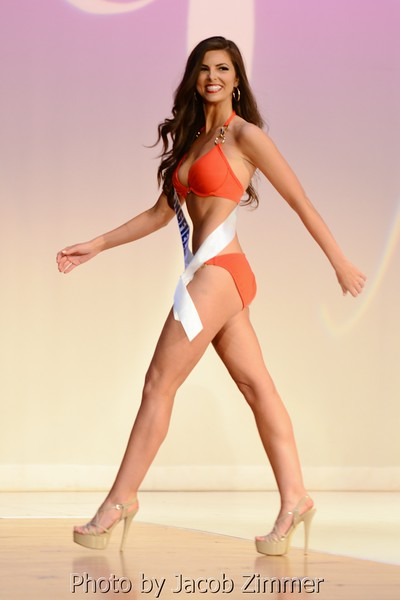 April Reinle competes in the swimwear division in the 2015 Miss Kentucky USA Pageant at the Ursuline Arts Center Sunday night. January 11, 2015.