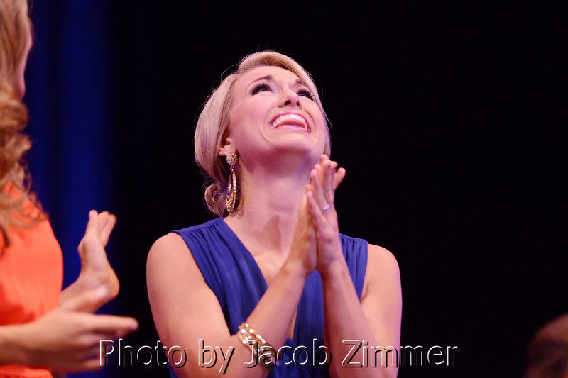 Laura Jones reacts to being named in the top five finalists for the 2014 Miss KY Pageant at the Singletary Center for the Arts in Lexington Saturday night. June 12, 2014.