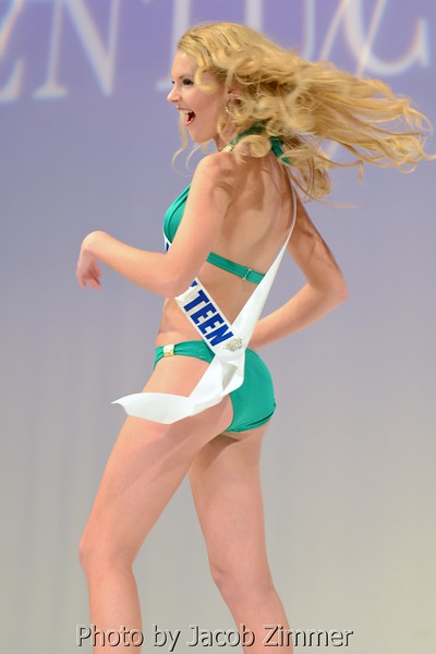 Bailey Pride competes in the swimsuit division in the 2015 Miss Kentucky USA Pageant at the Ursuline Arts Center Sunday night. January 11, 2015.