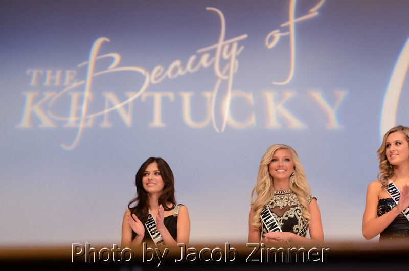 Megan Ducharm, Caroline Ford and Samantha Strong at the Miss KY USA Pageant at the Ursuline Arts Center in Louisville on Sunday. January 12, 2014.