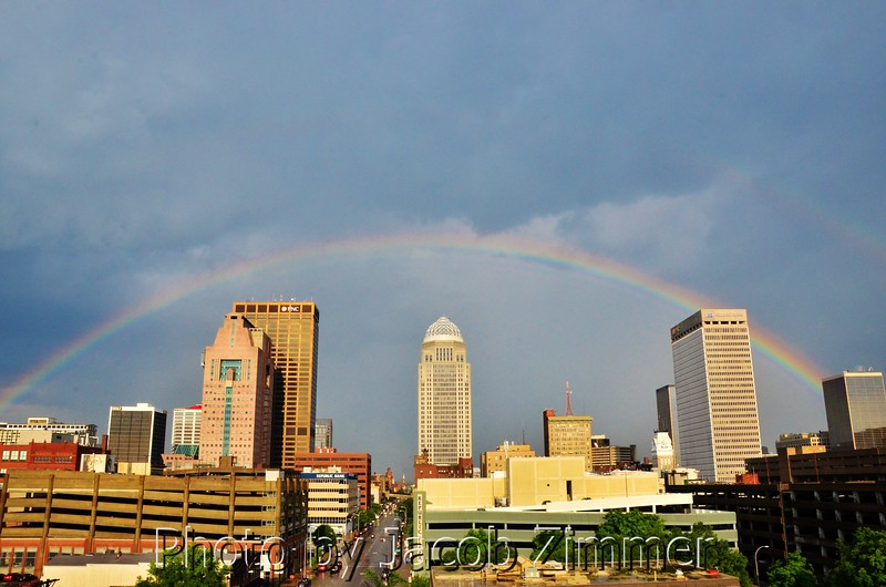 """Rainbow over downtown Louisville. 2012. This photo appeared in The Courier-Journal. More weather and skyline photos here: <a href=""""http://zymage.smugmug.com/JacobZimmerPhotography/Louisville-Photos"""">http://zymage.smugmug.com/JacobZimmerPhotography/Louisville-Photos</a>"""