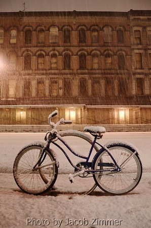 Bike in the Snow on Main Street
