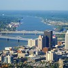 Aerial view of Downtown Louisville and the Ohio River.