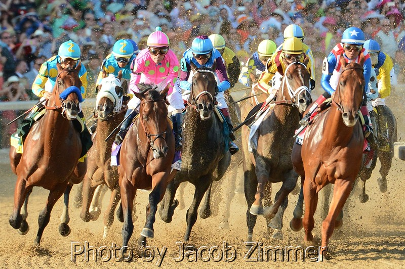 First turn of the 141st Kentucky Derby at Churchill Downs. Saturday May 1, 2015.