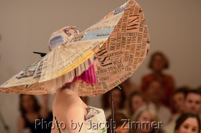 """Models in wearable art participate in KMAC Couture at the """"Art Walks the Runway"""" show at the KY Museum of Art & Craft. April 12, 2013."""
