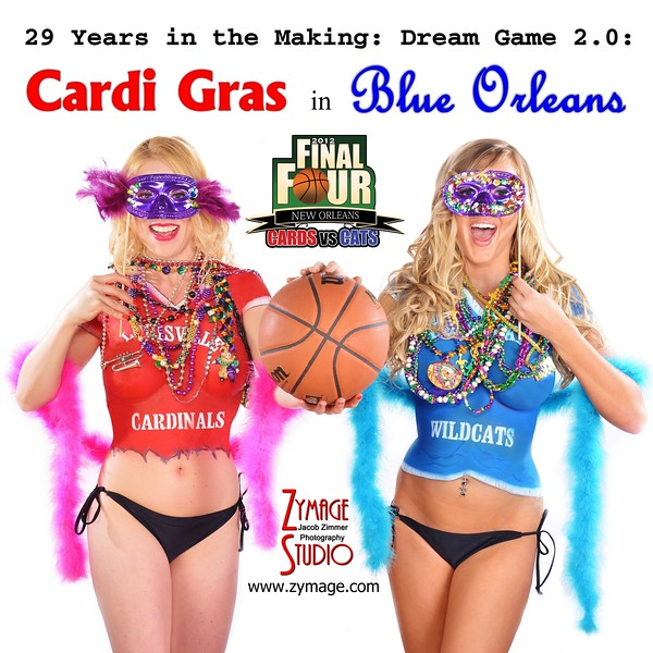 Models Sara M. and Rachel W. don Mardi Gras beads and masks to celebrate UofL and UK in the Final Four.