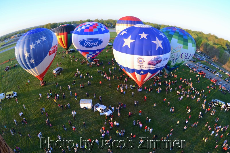 Looking down from the air at other balloons in the KDF Hot Air Balloon Race.