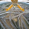 "View of ""Spaghetti Junction"" rebuilding where I-64, I-71 and I-65 merged and cross, now with new ramps to the Lincoln Bridge over the Ohio River."