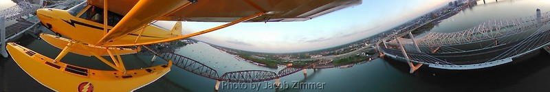 View of the Ohio River bridges from a seaplane taken with a 360 degree camera.