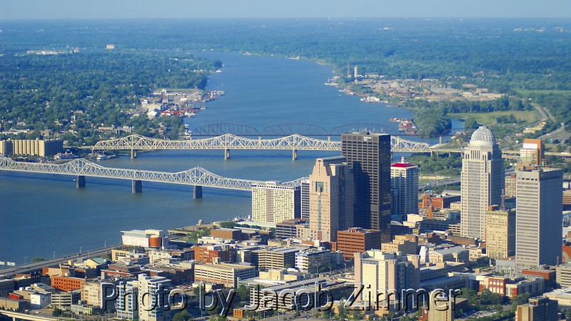 Downtown Louisville and the Ohio River.