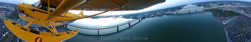 View of the Ohio River from a seaplane taken with a 360 degree camera. The crowd for the Thunder Over Louisville Air Show can be seen filling the green at Waterfront Park on the right.