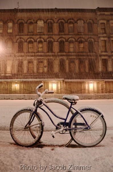 Bike in the Snow on Main Street