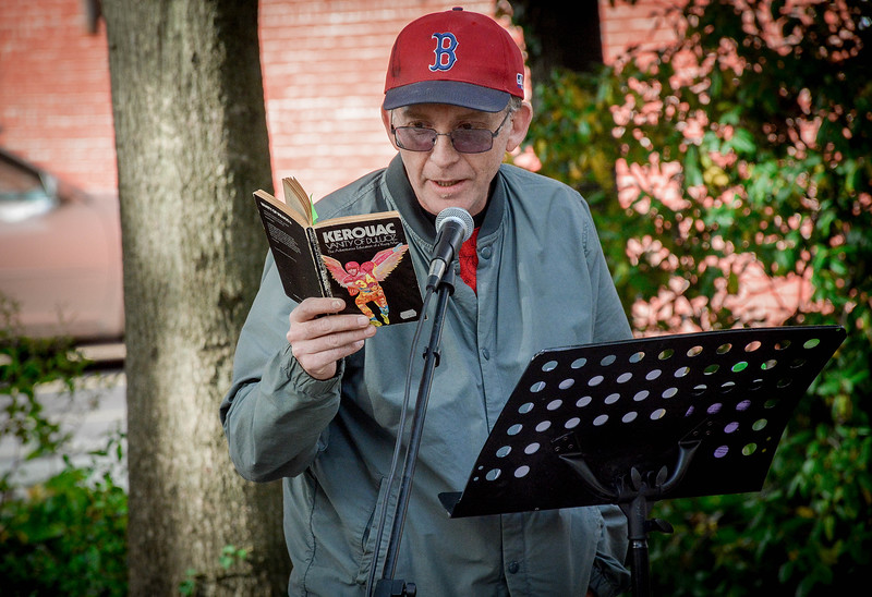 Mike Flynn of Lowell reads some of Jack Kerouac's work at the celebrate. SUN/Caley McGuane
