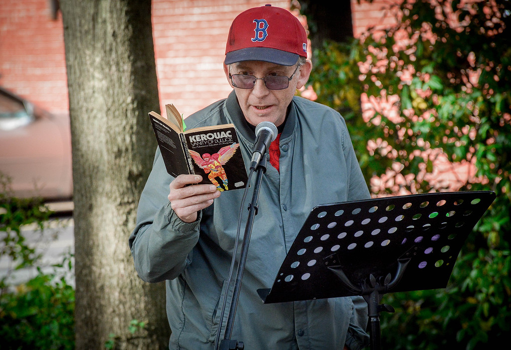 . Mike Flynn of Lowell reads some of Jack Kerouac\'s work at the celebrate. SUN/Caley McGuane