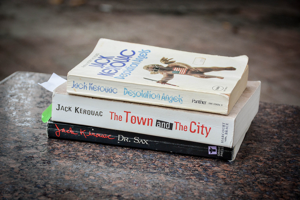 . A stack of Jack Kerouac books at the Kerouac Park in Lowell. SUN/Caley McGuane