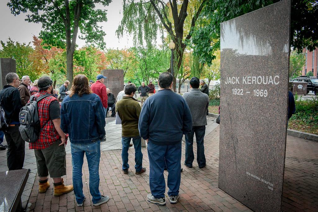 . People gather in Kerouac Park in Lowell to celebrate Jack Kerouac. SUN/Caley McGuane