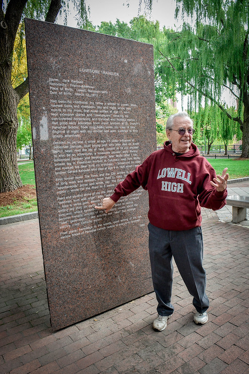 . Roger Brunelle of Lowell talks about Jack Kerouac and explains the monuments that are in Kerouac Park in Lowell. SUN/Caley McGuane