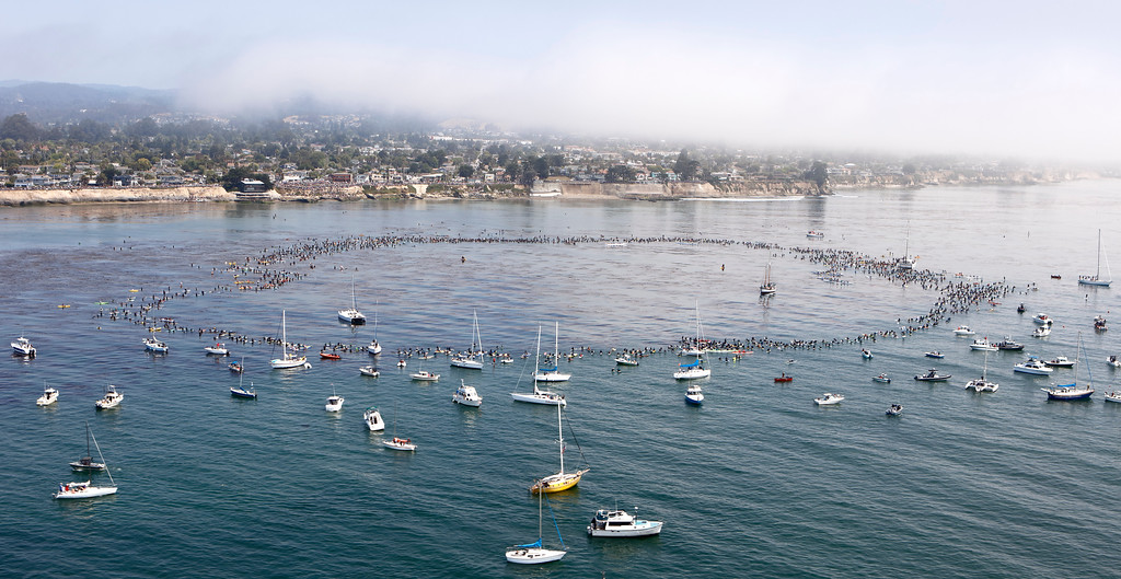 . On Sunday, thousands gathered at Pleasure Point, both in the water and on the cliffs, to remember surfing legend Jack O�Neill. (William Scherer -- Contributed)