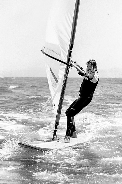 . Jack O\'Neill windsurfs off Santa Cruz August 5, 1982.  Inventor of the wetsuit and surfing world icon, O\'Neill died at his Pleasure Point home Friday.  (Dan Coyro -- Santa Cruz Sentinel file)