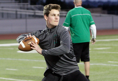 St. Bernard's quarterback Jack Rice goes through warmup throws before the Crusaders take on Saddleback Valley Christian in the CIF Division V-A state title game at Laguna Hills High School on Dec. 19, 2015. St. Bernard's won the game 28-21. (Danny Penza - The Times-Standard file)