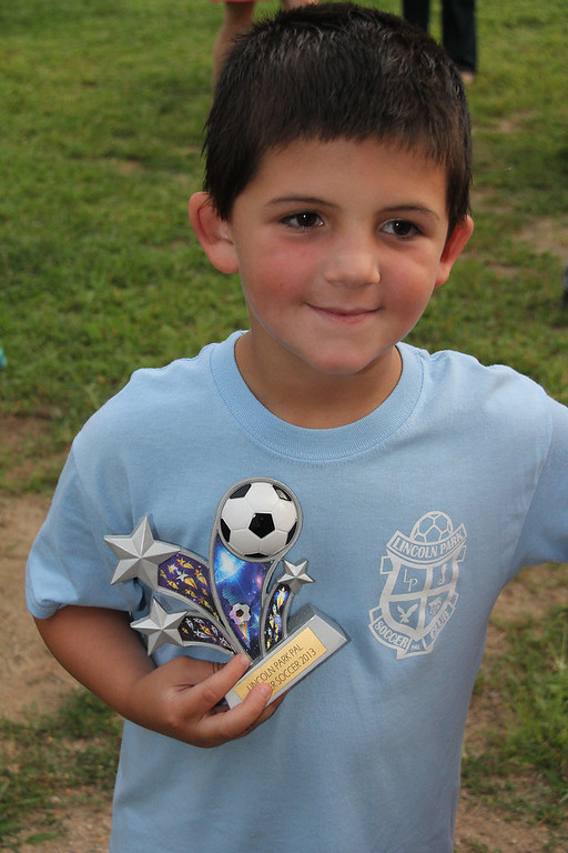 Jack's last soccer game and trophies 7-31-13