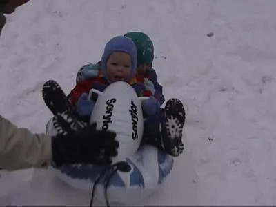Sledding in Backyard