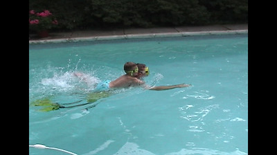 Swimming, Jumping & Water Skiing in the Pool