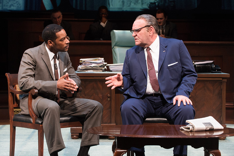 Kenajuan Bentley and Jack Willis (foreground) and Richard Elmore, Wayne T. Carr, and Jonathan Haugen (background) in THE GREAT SOCIETY at the Oregon Shakespeare Festival. Photo by Jenny Graham.