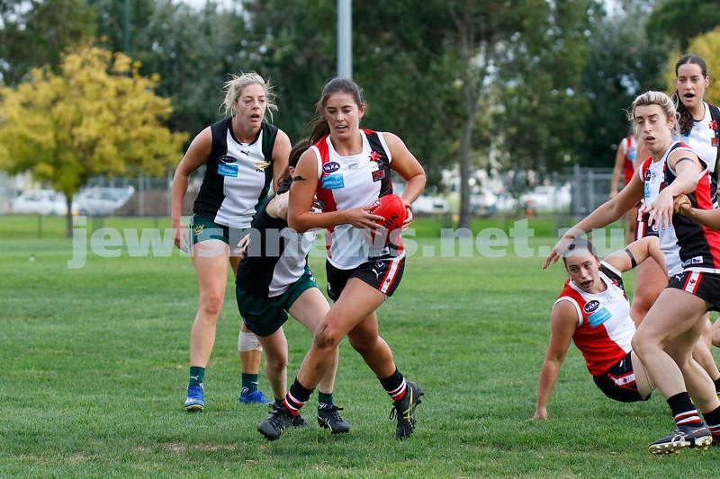 10-4-21. VAFA Women Division 3. AJAX Jackettes def Powerhouse at Ross Gregary Oval. Photo: Peter Haskin