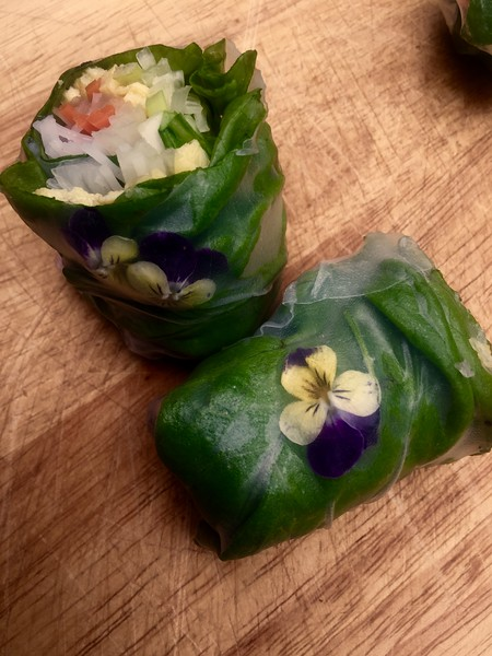 edible flowers and petal summer rolls - gluten free