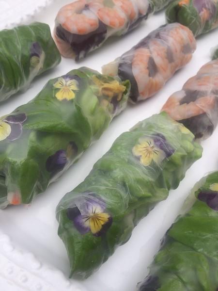 assorted gluten free BEAUTIFUL  rice rolls - lemongrass beef, shrimp/egg/mushroom and veggie