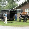 Preparing to hitch the Percherons to the carriage - Steve Freda.