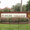 EDITORIAL USE ONLY:      ST. AUGUSTINE, FL, USA - NOVEMBER:  Entrance sign to Flagler College, Flagler College is a private liberal arts college built in1888 as a luxury hotel for Henry Flagler as seen on November 8. 2019.