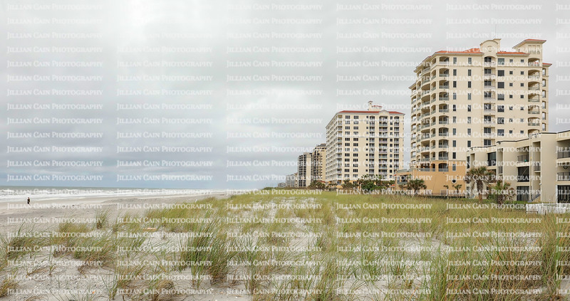 Sand dunes, sea oats and skylines on Jacksonville Beach as a cold front arrives bringing clouds and cooler weather.