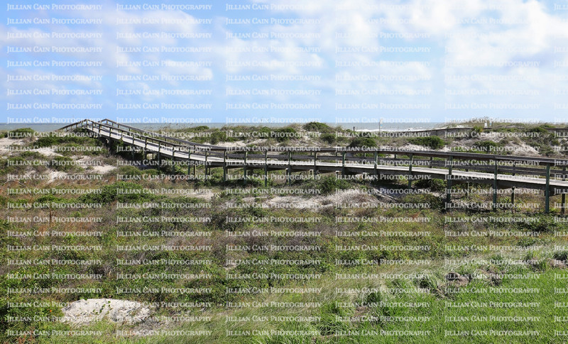 Peters Point Beachfront Park boardwalk, a handicapped accessible natural beach on Amelia Island, Florida.