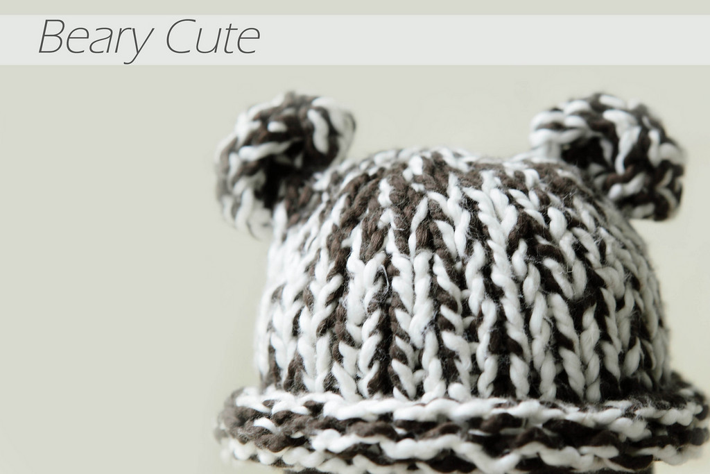This chocolate and cream knit beanie is hand-made from the softest organic cotton.