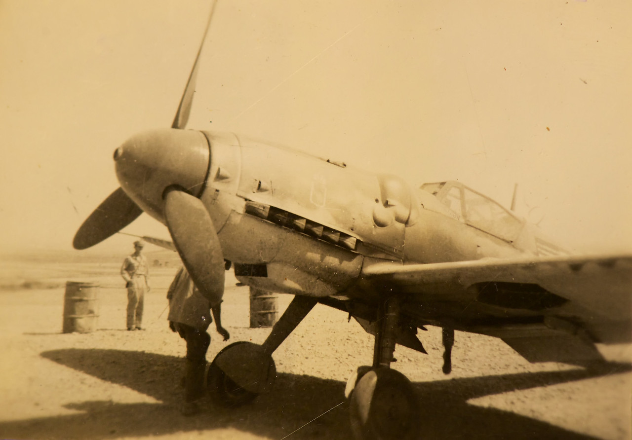 This is  ME-109G model. Jack told me that the German pilot landed at there base late in the afternoon and gave himself up. Told everyone he was tired of fighting the war.