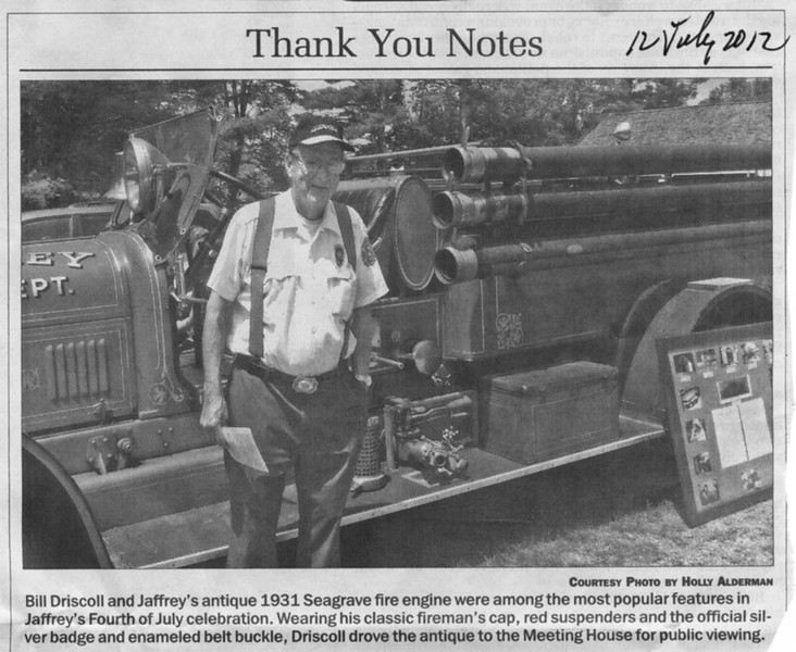 Bill Driscoll, Reading of the Declaration, Monadnock Ledger, July 12, 2012.