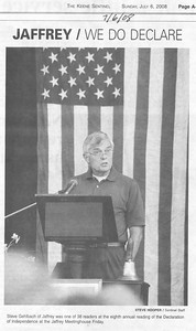 Steve Gelbach, Reading of the Declaration, Keene Sentinel, July 6, 2008.