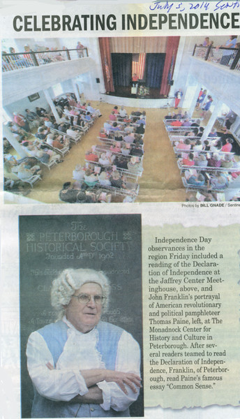 Reading of the Declaration, Keene Sentinel, July 5, 2014.