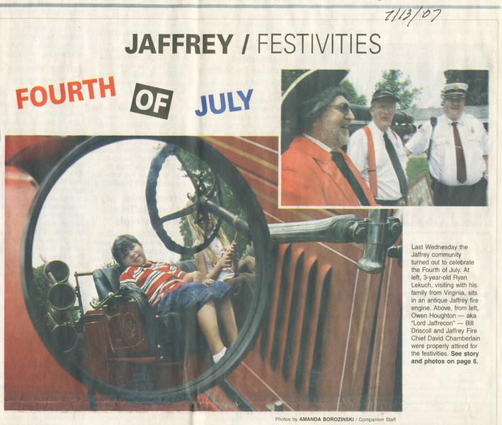 Reading of the Declaration, Keene Sentinel, July 13, 2007.
