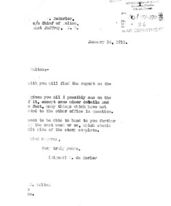 Page 1. Cover Letter January 14, 1919. Dekerlor to Dalton.