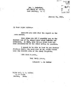 Page 1. Cover Letter January 14, 1919. Dekerlor to Dalton. Another version.