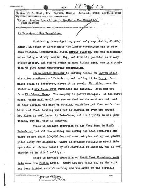 Loose sheets. Report of Nathaniel O. Nash, Jr.