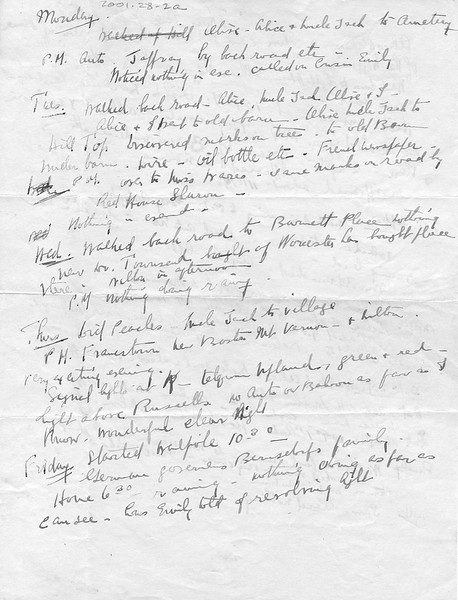 Notes written possibly by Mrs Morison about lights seen at night. Unclear of year.