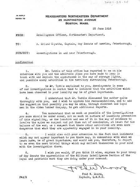 """Memo from Intelligence Officer to Erland Goyette, 25 June 1918, re: """"investigations in and near Peterborough"""""""