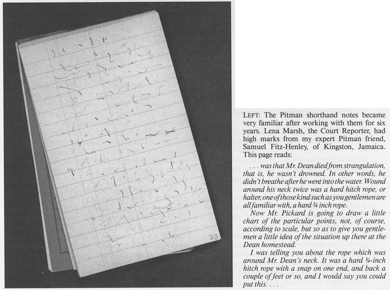Example of Pitman shorthand from Margaret Bean's 'Hearing by the Grand Jury on the Death of William K. Dean.'