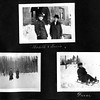 Photograph from the Cutter Albums of the Jaffrey Historical Society. Mobile Cutter and Lucia in front of the Clay Library. Probably Mabelle on the sled.