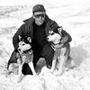 """""""Tat and his two leaders."""" Aleka and Czar. 1949. Photo: Bernice B. Perry, Wilton, NH. #02720."""