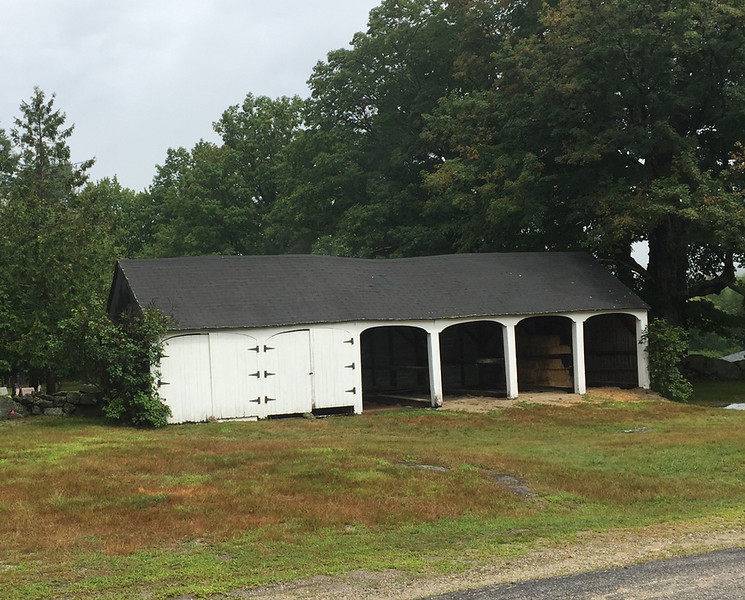 Possible Hearse House (on left) in Hillsborough Center, NH. Cemetery is behind. August 21, 2019.